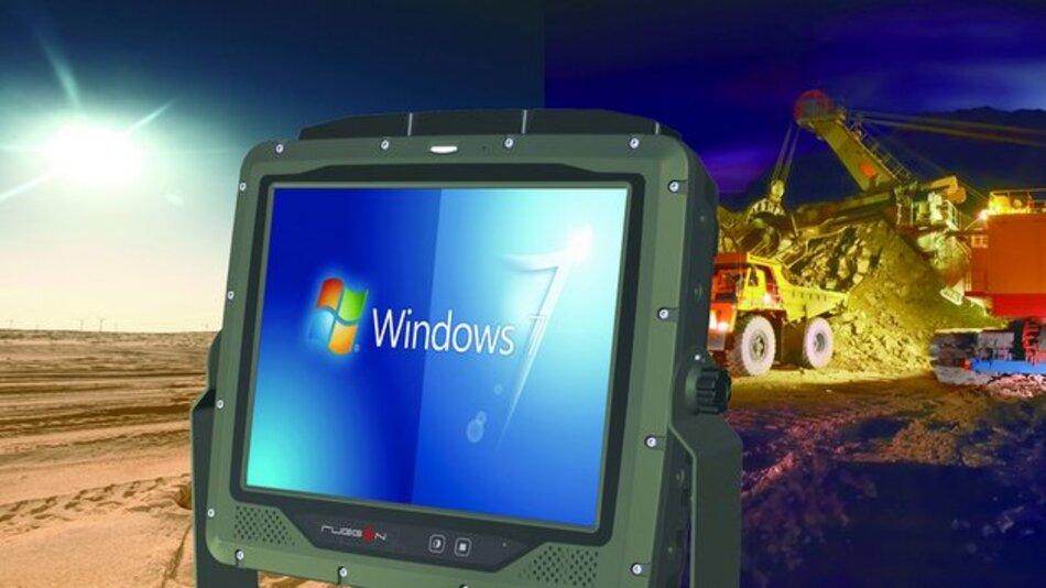 Auch auf Baustellen zuhause: der Fahrzeug-PC VM-521 von Comp-Mall.