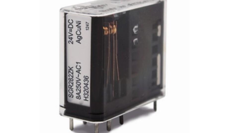 Elestas Zwei-Wechsler-Relais SGR 282 ZK mit zwangsgeführten Kontakten schaltet Ströme ab 4 mA bis 8 A.
