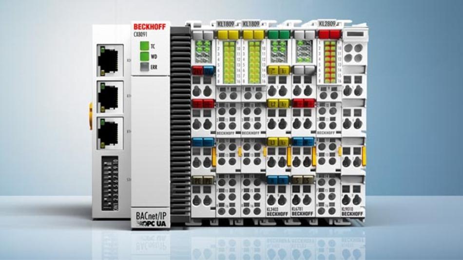 Der Embedded-PC CX8091 eignet sich als dezentrale Kleinsteuerung und per OPC UA – oder auch BACnet – als Datensammler für ein übergeordnetes Energiemanagementsystem.