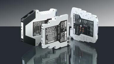 Die »BasicLine« von Knick ist eine Wandlerbaureihe für alle wesentlichen Basisfunktionen und eignet sich durch ein optimales Preis-Leistungsverhältnis für den flächendeckenden Einsatz. Das Bild zeigt die Geräte BL 570, BL 520 und BL 510 aus der »Basi