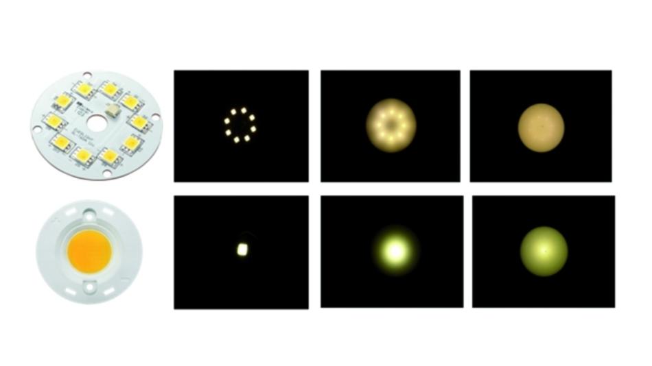 Bild 2. Einfluss eines Diffusors auf die Abstrahlungscharakteristik bei diskreten LED-Komponenten (oben) und einzelnen COBs. Neben dem Bauelement sind die Leuchtbilder ohne Diffusor, mit leichtem Diffusor und mit stärkerem Diffusor angeordnet.
