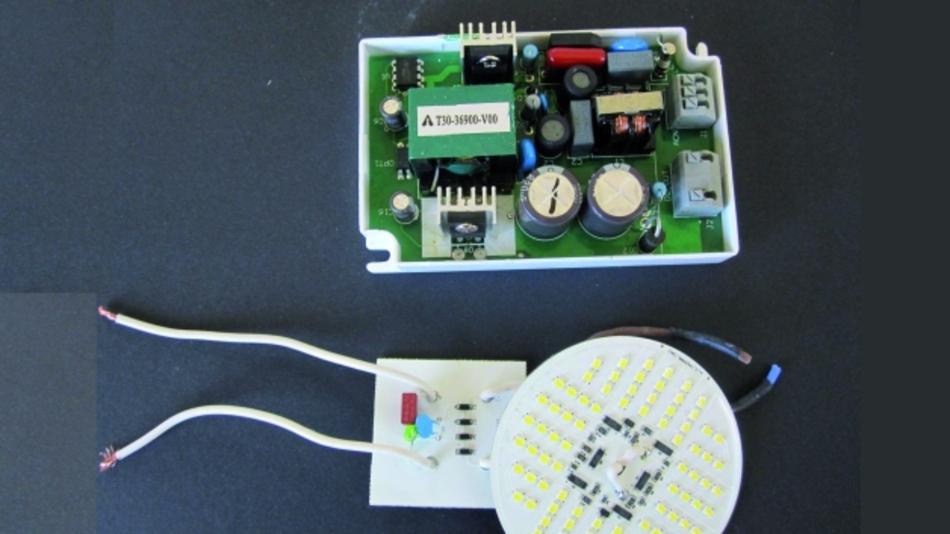 Bild 3. Vergleich zwischen einem herkömmlichen Schaltnetzteil und einem Strahler mit Ansteuerelektronik.