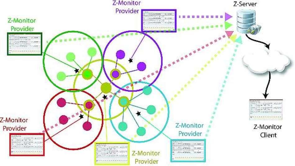 Bild 3: Eine Netzarchitektur mit verteilten Z-Monitor-Anwendungen, hier Provider genannt