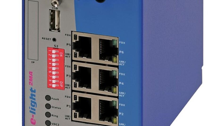Auf Java Script und dem HTML5-Standard beruht die Software des Industrial-Ethernet-Switch »e-light 2MA« von eks Engel.