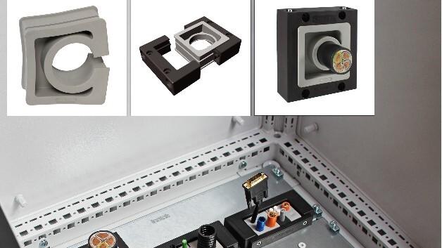 Für Versorgungsleitungen mit einem Durchmesser von 33 bis 65 mm ausgelegt ist Icoteks geteilte Kabeleinführung KEL-JUMBO für Schaltschränke.
