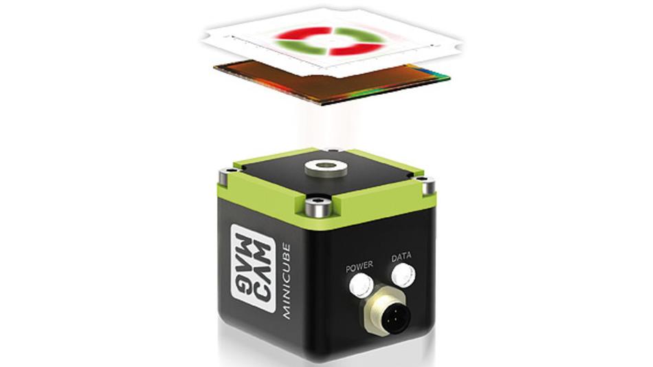 Bild 1. Unten: Magnetfeld-Kamerasensormodul (MiniCube) mit einem zu vermessenden Ringmagneten. Über der Kamera ist der Sensor-Chip abgebildet, der unter die Kamera-Oberfläche eingebaut ist. Oben: Darstellung der erfassten 2D-Magnetfeldverteilung des 4-Pol-Ringmagneten.