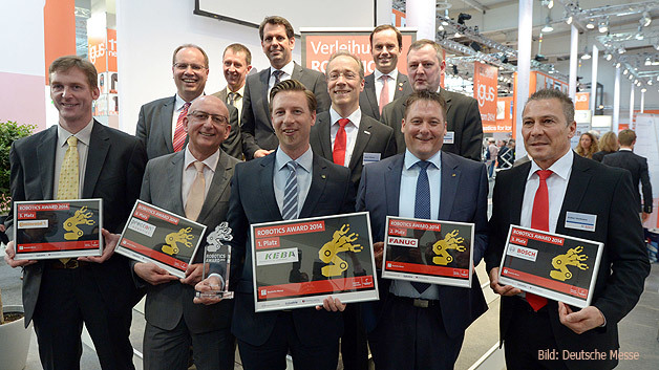 Keba gewinnt den Robotics Award 2014. Der zweite Platz geht an Fanuc Deutschland, Platz drei teilen sich Robert Bosch sowie Continental Reifen Deutschland gemeinsam mit preccon Robotics.