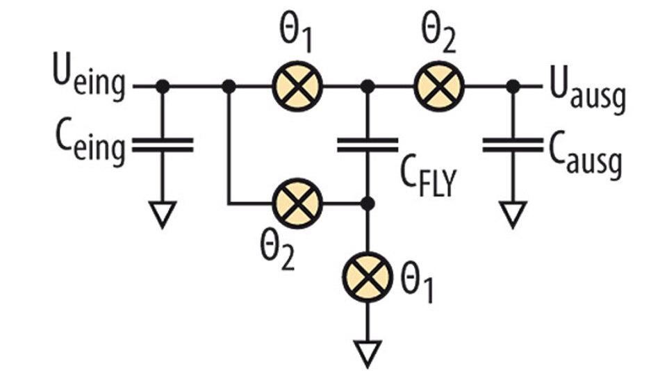 Bild 1: Schaltung zur Basis-Ladungspumpen-Spannungsverdopplung.