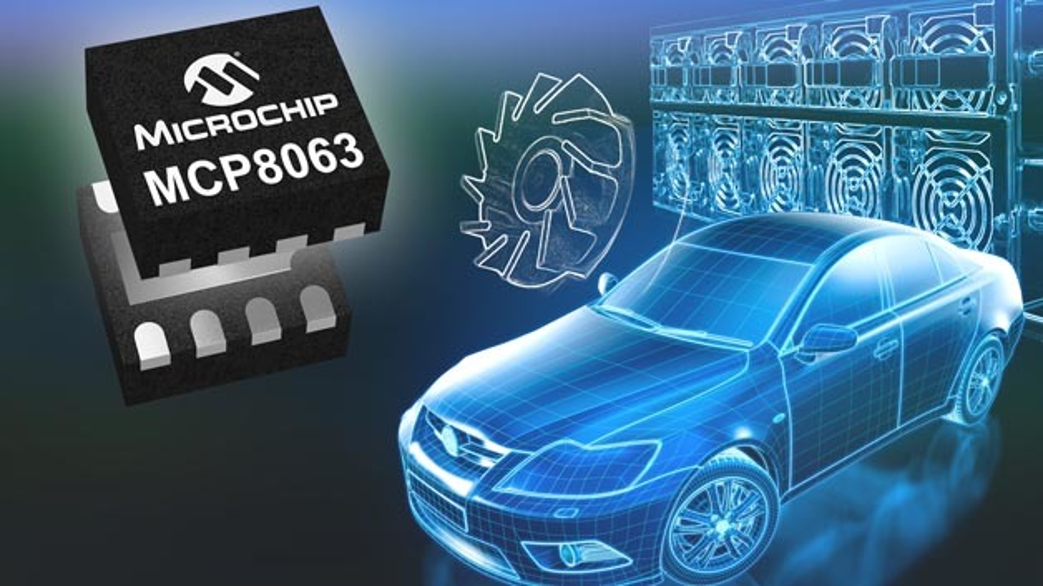 Der Motortreiber MCP8063 aus dem Hause Microchip eignet sich für den Einsatz in sinusförmigen BLDC-Motoren.