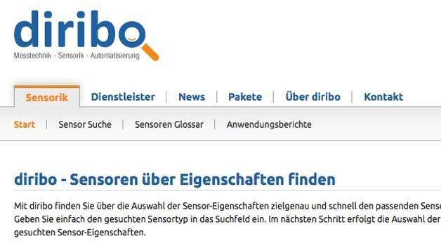 """Die Webseite """"Diribo"""" zur Sensorsuche"""