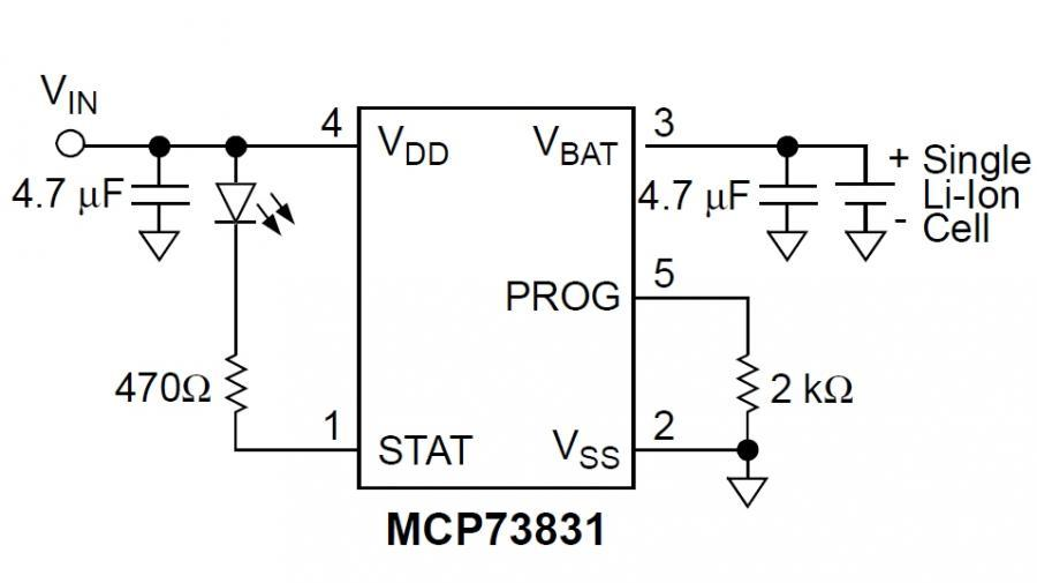 Der Akku-Ladebaustein MCP73831/2 ist in ein Gehäuse mit 2 x 3 mm² Grundfläche eingebaut und benötigt nur wenige externe Komponenten für den Betrieb.