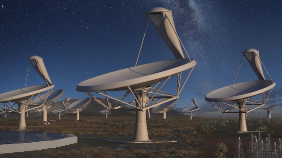 Ergründen, was die Welt im Innersten zusammenhält. Mit mehreren hunderttausend Antennen soll in den nächsten zehn Jahren aus den Wüsten Australiens und Afrikas heraus das elektromagnetische Spektrum unterhalb von 10 GHz unter die Lupe genommen werden.