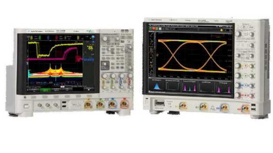 Auf dem 38,1 cm großen kapazitiven Multitouch-Bildschirm der »Infiniium-S«-Modelle (rechts im Bild) lassen sich die Messergebnisse einfach ablesen. Die Steuerung der »InfiniiVision-6000-X«-Modelle (links im Bild) kann sowohl über den kapazitiven Touchscreen als auch per Sprachsteuerung erfolgen.