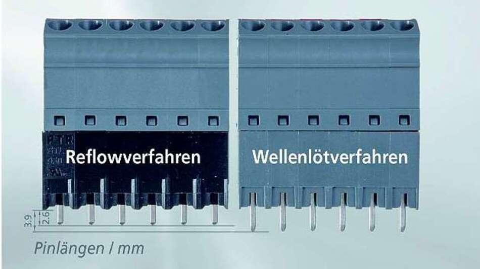 Bild 2: Vergleich der Standard-Anschlussklemme »AK4951« (rechts) mit der fürs Reflowlöten optimierten Ausführung »STL950-HT«