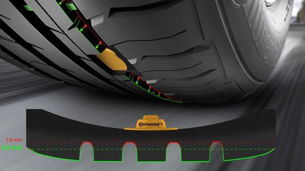 Im Innern des Reifen montierte Sensoren melden die Bordelektronik, ob ein Reifenwechsel ansteht.