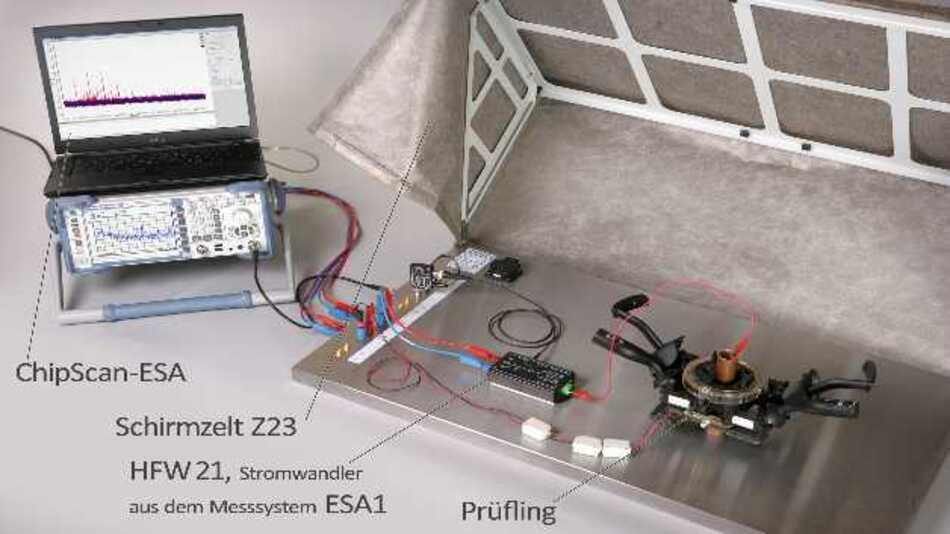 Im ESA1 erfolgen die Messungen auf einer leitfähigen Grundplatte sowie im Schirmzelt, um die Einflüsse zu verringern, die von der Anordnung des Messaufbaus, der Lage der Kabel und von HF-Feldern aus der Umgebung stammen.