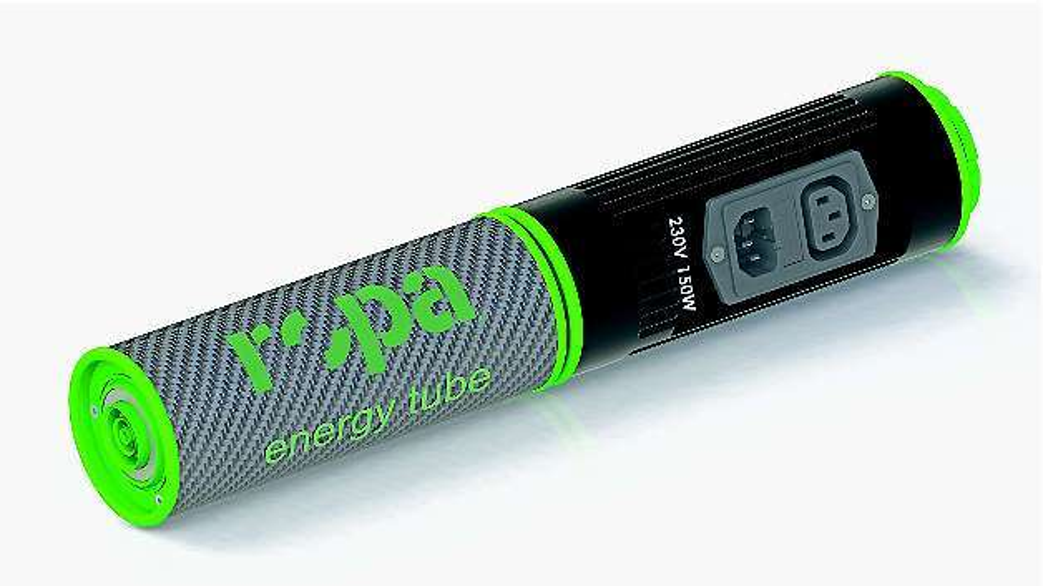 Bild 2: Ein 150-W-Netzteil zum Laden der EnergyTubes ist genauso groß wie eine solche Batterie