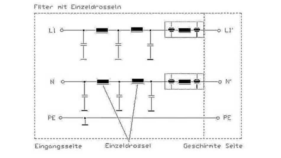 Aufbau einer Netzfilterschaltung