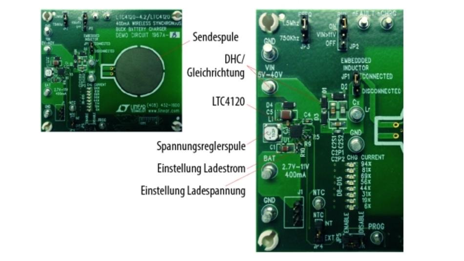 Bild 3. Beispielsystem auf zwei Leiterplatten mit Sender (links) und einer aus dem LTC4120 basierenden Empfängerschaltung. Die Zuleitungen zur Empfängerspule sind am rechten Rand der Empfängerleiterplatte zu erkennen.