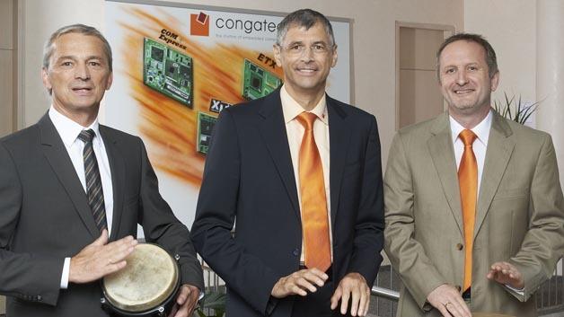 Von links nach rechts: Bernd Hacker (VP Sales & Marketing), Josef Wenzl (VP Finance & Administration), Gerhard Edi (Vorstand), Congatec AG