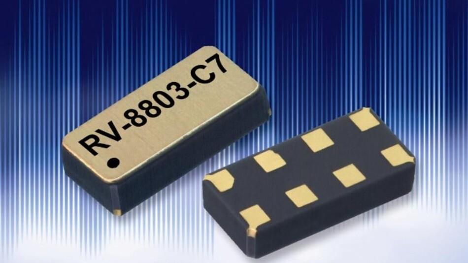 Einen Stromverbrauch von nur 250 nA hat Micro Crystals temperaturkompensiertes, extrem ganggenaues Real-Time-Clock-Modul RV-8803-C7.