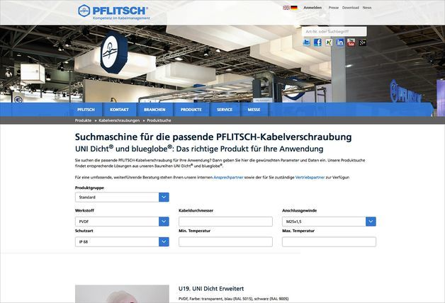 PFLITSCH geht mit intelligenter Website online