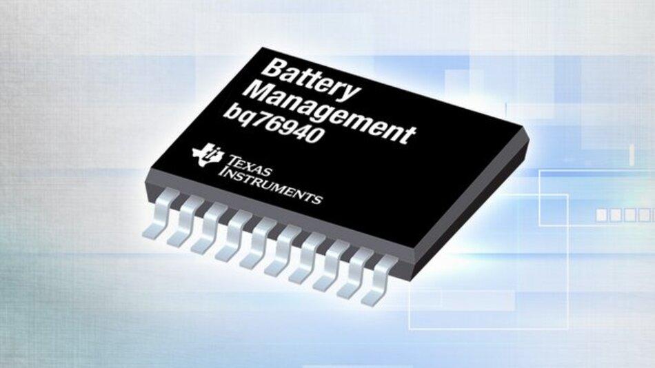 Der bq76940 von TI kann bis zu 15 Zellen oder typische 48-V-Akkusätze überwachen.