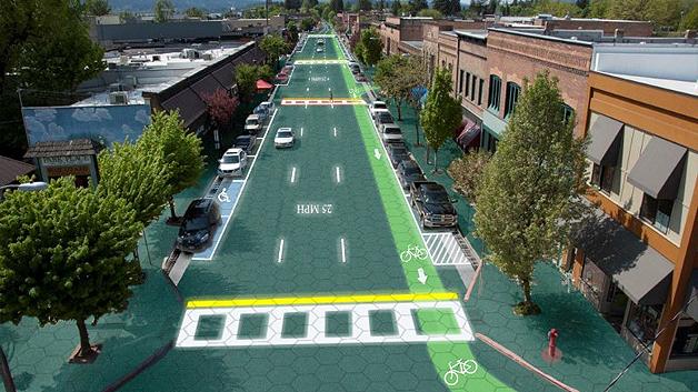 So könnte Sandpoint, Idaho, der Standort von Solar Roadways, mit Solarzellen gepflasterten Straßen aussehen.