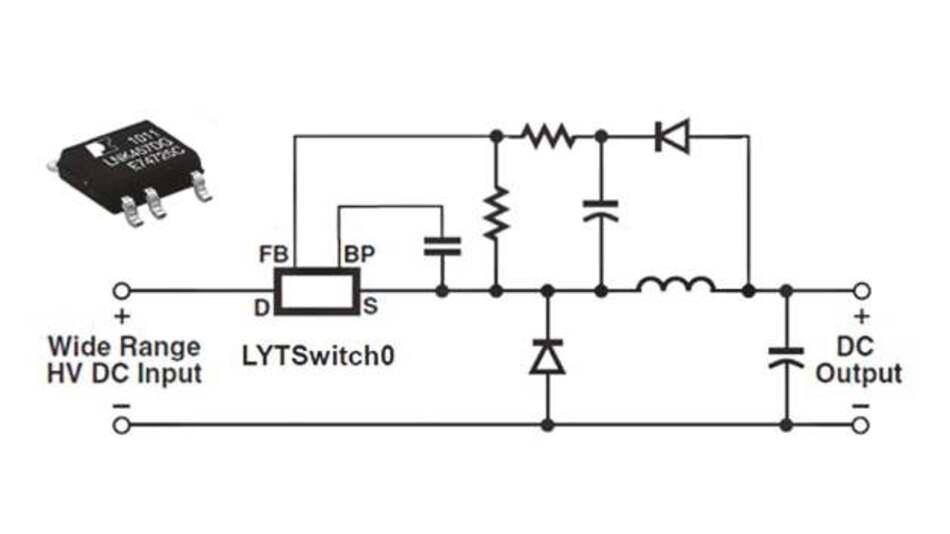 Prinzipschaltung mit dem LYTSwitch-0 als LED Treiber in einer Buck-Topologie