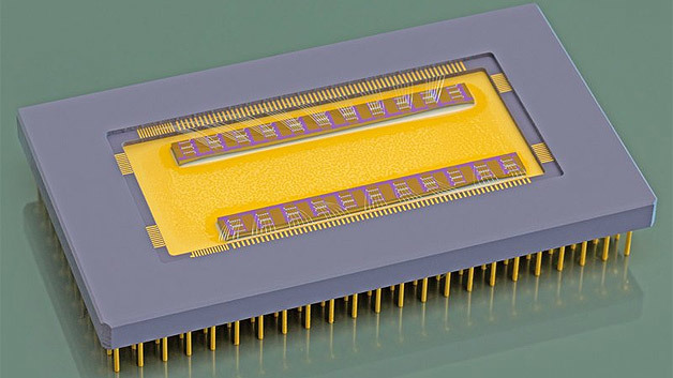 CMUT-Chip auf Keramikträger.