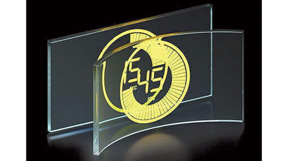 Bild 1. Eingeschaltet hell leuchtend, ausgeschaltet durchsichtig wie normales Glas: TASEL-Elektrolumineszenz-Display.