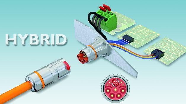 Der »M23-Hybrid«-Stecker ist für Ströme bis 30 A und Spannungen bis 850 V DC bzw. 630 V AC ausgelegt. Das Steckgesicht umfasst neben dem mittig platzierten PE-Schutzleiter jeweils vier Leistungs- und Signalkontakte. Die vier weiteren Datenkontakte sind für eine Übertragung nach Cat.5 ausgelegt.