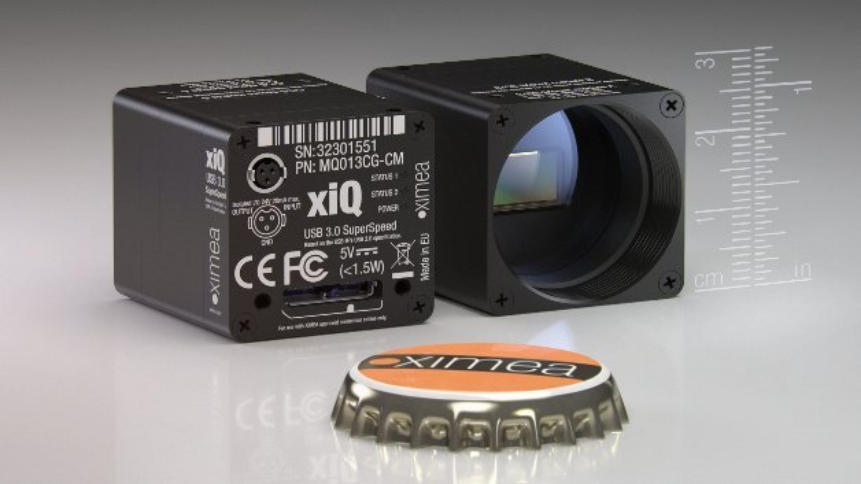 Die neue 27 Gramm leichte hyperspektrale USB-3.0-Kamera von XIMEA mit IMEC-Bildsensorik misst nur 26,4x26,4x21,6 mm3 und deckt einen Spektralbereich von 470 bis 900 nm ab.