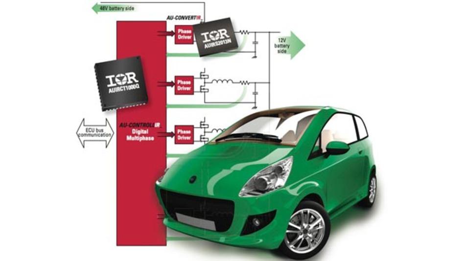 Auf dem Weg zu 48 V unterstützt International Rectifier Automobilhersteller und Zulieferer mit Mehrphasen-Digitalreglern.