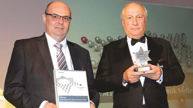 Zusammen mit dem technischen Geschäftsführer Steffen Heinrich, nahm Hilmar Kraus am 25. März in Wien die Auszeichnung als bester Lieferant in der Kategorie »Commodity Parts« durch Siemens Rail Systems entgegen.