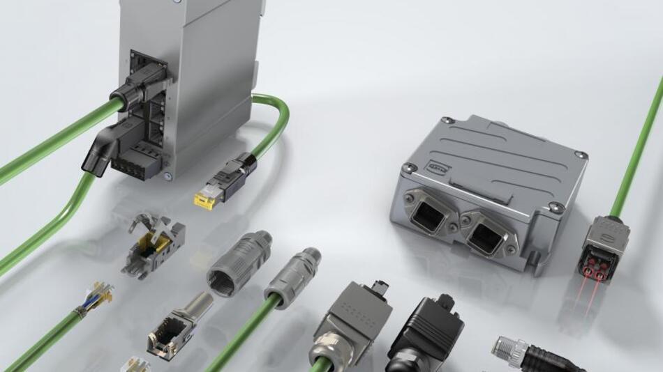 Harting-Produkte für die Profinet-Übertragung. Dank strenger Vorgaben an die Verbindungskomponenten steht Profinet für eine verlässliche und hoch verfügbare Netzwerkinfrastruktur.