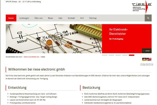 Neue Website des EMS-Dienstleisters Riese Electronic
