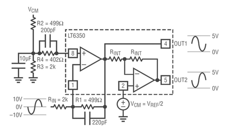 Bild 4: Diese Treiberschaltung mit dem LTC6350 wandelt ein unsymmetrisches Signal (±10V) in ein differenzielles Signal (0V bis 5V)
