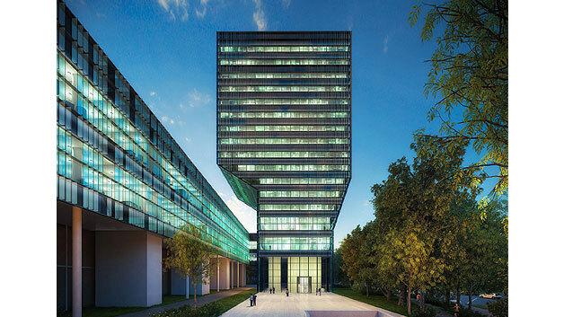 Mit dem neuen 4000 m2 großen Reinraum (links) kann das IMEC die 450-mm-Wafer-Forschung weiter vorantreiben. Mit über 2000 Beschäftigten braucht das IMEC auch mehr Bürofläche und hat einen neuen Büroturm (rechts) gebaut
