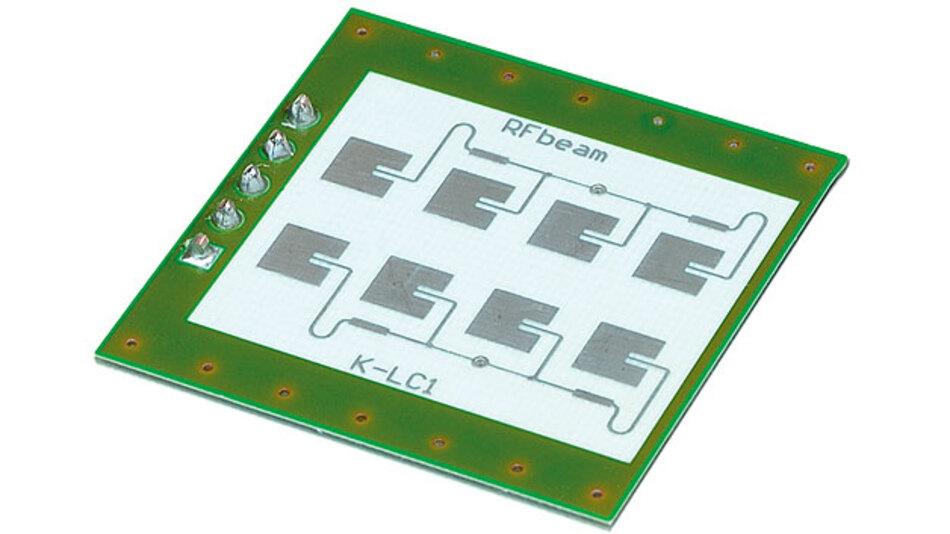 Bild 1. Radarsensor K-LC1a des Herstellers RFbeam: Man erkennt die zwei – aus jeweils vier Elementen gekoppelten – Patch-Antennen.