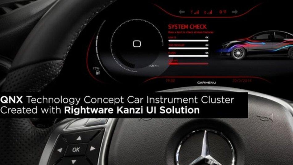 Frei konfigurierbares Kombi-Instrument auf Basis von Lösungen von QNX und Rightware.