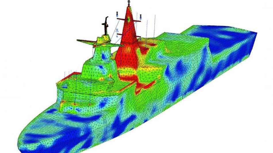 Für eine aussagefähige Simulation von Schiffsantennen muss das gesamte Schiff modelliert werden.