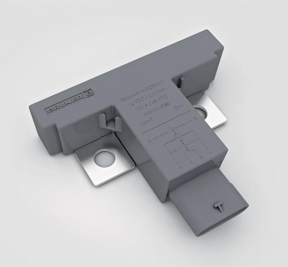 Bild 1: Das kompakte 48-V-Relais unterdrückt Schalt-Lichtbögen anders als Hochvoltgeräte auch ohne teure Schutzgasfüllung und Löschmagnet zuverlässig und garantiert eine galvanische Trennung zwischen Antriebs- und Lastkreis