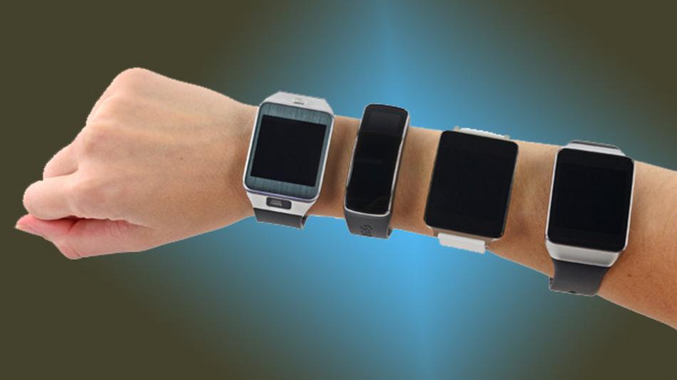 Vier Smartwatches von Samsung und LG:  Samsung Gear 2, Samsung Gear Fit, LG G Watch und Samsung Gear Live