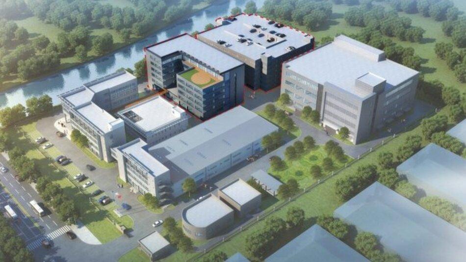 ZF erweitert seine Zentrale für China und Asien-Pazifik in Schanghai: Durch die neuen Flächen (rote Umrandung) schafft der Konzern Platz für insgesamt 900 Mitarbeiter.