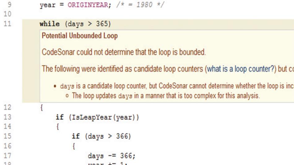 Bild 3: Vereinfachte Version des Codes mit dem Infinite-Loop-Bug