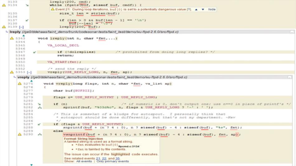 Bild 5: »Format String Injection Vulnerability« in wu-ftpd (CVE-2000-0573)