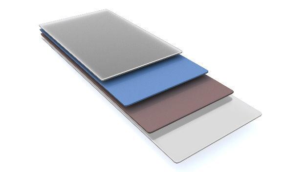 Das Schichtsystem der Solarzelle: innen die beiden Halbleiter, darüber und darunter befinden sich elektrische Kontakte.