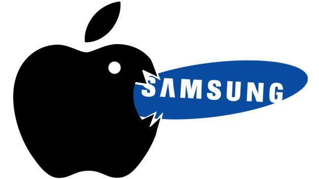 Apple-Logo beißt Samsung Logo