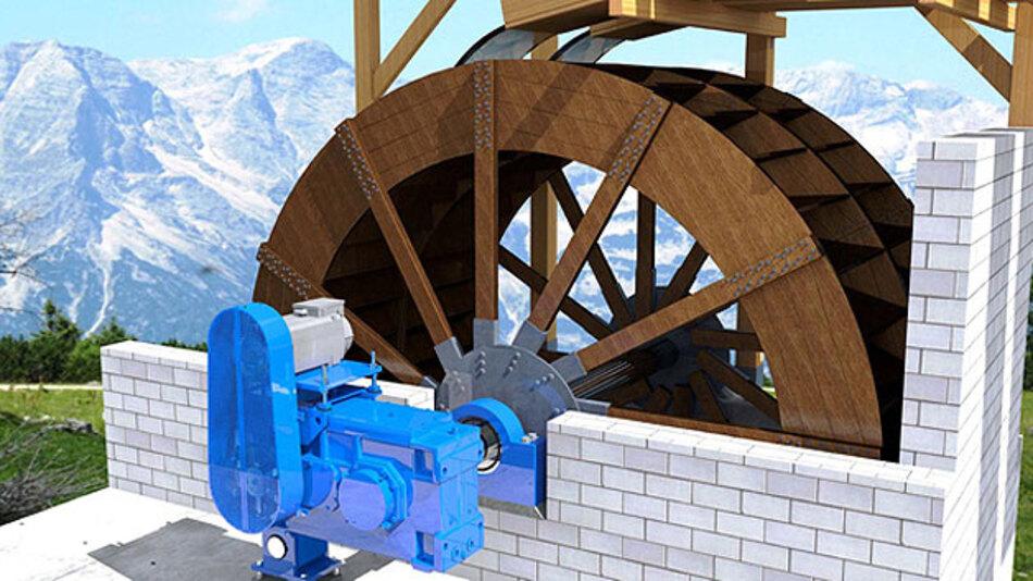 Das Mühlrad dreht sich durch Wasserkraft. Das Antriebssystem von Siemens dient dabei als Generator und erzeugt den elektrischen Strom.